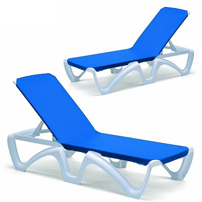 Pool Furniture Set - 2 Sling Chaise Lounges